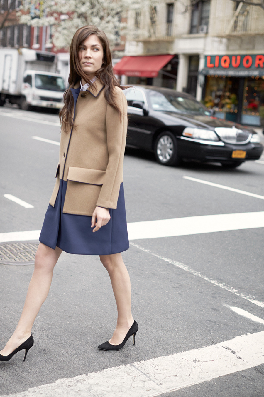 awelltraveledwoman:  clubmonaco-pressroom:  August - Look 1Emmi Coat, Gabriella Button-Up Shirt, April Pump  Last month Club Monaco asked me to come to NYC to be part of their fall lookbook. Such a great experience and so fun to see the results!