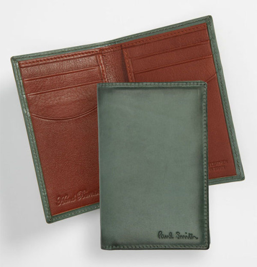 BURNISHED Bucks: The Paul Smith Burnished Wallet features green, hand-burnished leather, six card slots and a currency pocket for a rustic, yet modern accessory. $200.
