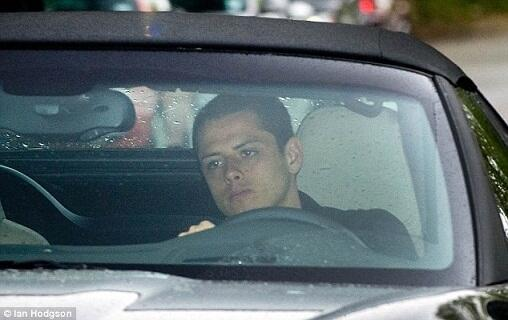 javierhernandezindonesia:  Chicharito driving his car to Carrington. His face sure looks sad, probably because of Sir Alex's retirement :(