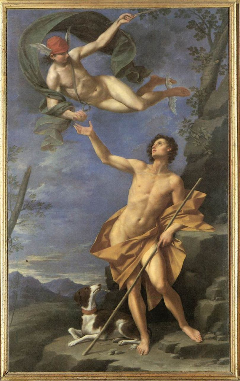 Donato Creti [Italian Baroque Era Painter, 1671-1749] Mercury and Paris, 1745 oil on canvas Palazzo d'Accursio, Bolonha