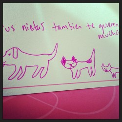 Mum and I have this thing where we always put our pets on our cards. #futurecrazypetlady #thingoneandthingtwo