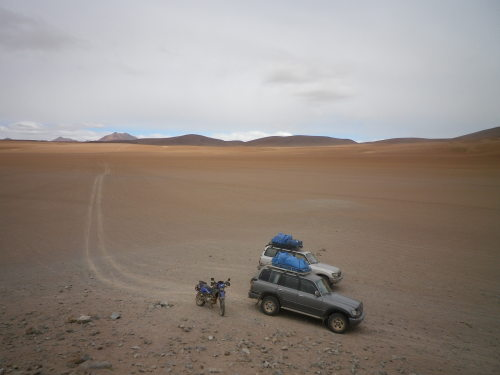 The crossing from San Pedro de Atacama across into Bolivia to Uyuni was some of the hardest riding I have ever done. Land Cruisers are the fastest vehicle in the world and not the easiest things to keep up with at 3000m altitude with a 600cc single and 0 real off road experience.