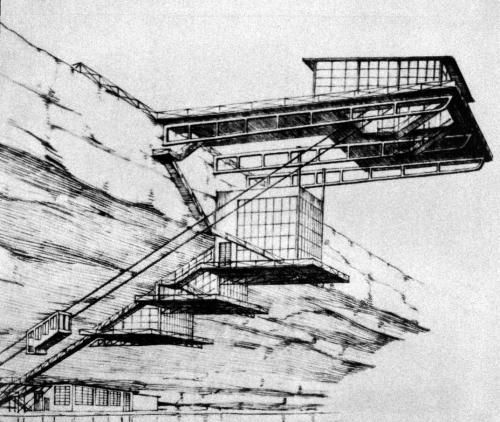 Restaurant and landing platform on a cliff, project, 1923Nikolai Ladovski done while attending the Vkhutein