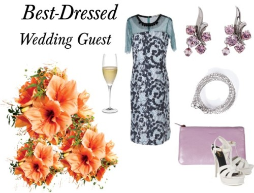Best-Dressed Wedding Guest by modewalk featuring crystal jewelryClements Ribeiro  / Yves Saint Laurent platform sandals, $840 / Rochas  handbag / Atelier Swarovski crystal jewelry / On Aura Tout Vu crystal jewelry / Riedel Sommeliers Champagne Flute