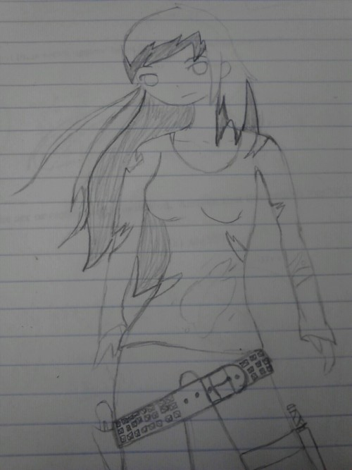 A drawing of me as a B.A. zombie murderer. Its less than accurate now though, my hair is all black :(