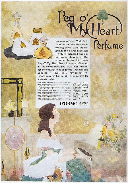 "The Reeses, Peg O' My Heart Perfume, 1919 on Flickr.  Click image for 622 x 884 size. From Taschen's ""All-American Ads 1900-1919""."