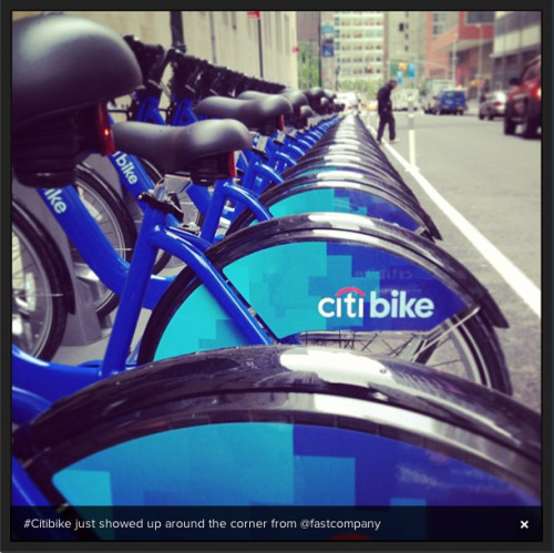 This morning I stumbled upon a brand-spanking-new bank of Citibikes right around the corner from our office in downtown Manhattan. Last year we asked if 10,000 bikes could change the way New Yorkers travel. I guess we're about to find out! -M. Cecelia Bittner