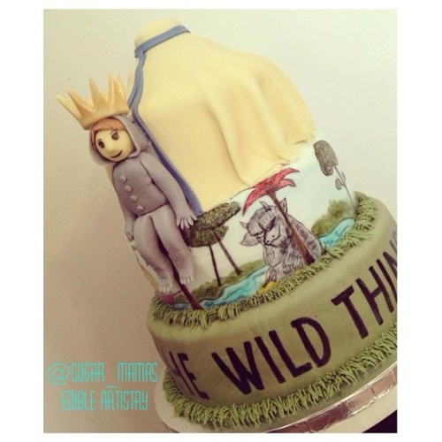 "@sugar_mamas  ""Where The Wild Things Are Cake!"" Fondant, everything edible, hand-painted book scene.  Greetings from Sugar Mamas! We are a 100% vegan bakery, also specializing in gluten-free.   We make edible artistry in the form of cakes and cupcakes. We also do chocolates such as Peanut Butter Cups and Vegan Creme Eggs. Sugar Mamas was started only a year ago, but we have grown so much thanks to our awesome customers and friends.   Our favorite is blowing people's minds when they  realize a vegan treat is actually better than it's dairy counterpart :)   Check us out on facebook: Sugar Mamas of Camillus NY.   Thanks so much!!   Sarah of Sugar Mamas"