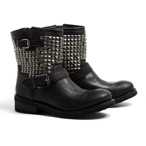 thepolyvorecollection:  Ash Titan Antique Silver Studded Ankle Biker Boots   (see more bootie boots)