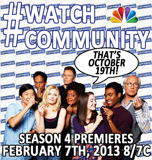 witstream:  The Community season premiere is an hour away! Be sure your DVR is set, because apparently no one actually watches that show live.