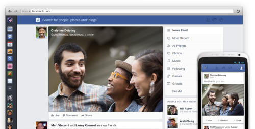 "Facebook toont nieuw design 'News Feed' Facebook heeft vandaag een nieuw design van hun 'News Feed' getoond. De news feed heeft een nieuwe look gekregen (met o.a. grotere foto's) die beter aansluit bij de mobiele varianten (website en apps) van Facebook.  Wat vooral nieuw is, is de optie voor verschillende feeds. Zo kun je een aparte feed bekijken met foto's, video, muziek enz. Ook is het linkermenu dat je van de mobiele pagina/app kent nu ook te zien bij de webversie van Facebook. Facebook zegt zelf het volgende over de update:  ""Today we're announcing a new version of Facebook designed to reduce clutter and focus more on stories from the people you care about. You see all the stories you saw in your News Feed before, but with a fresh new look. To make sure you're seeing all the stories you want to see, we're introducing several new feeds to explore in addition to the same News Feed you have today: - All Friends: a feed that shows you everything your friends are sharing- Photos: a feed with nothing but photos from your friends and the Pages you like- Music: a feed with posts about the music you listen to- Following: a feed with the latest news from the Pages you like and the people you follow"".  De update zal in de komende weken worden uitgerold. Wil je een van de eerste zijn die de nieuwe news feed(s) kan gebruiken, meldt je dan hier aan. Bekijk onderstaande video voor een impressie van het nieuwe design."
