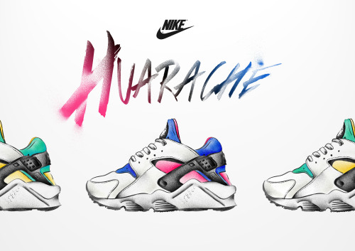 ndlennon:  Got bored so decided to doodle some Nike huarache OGs. Ai for linework. Ps for shading and colour.