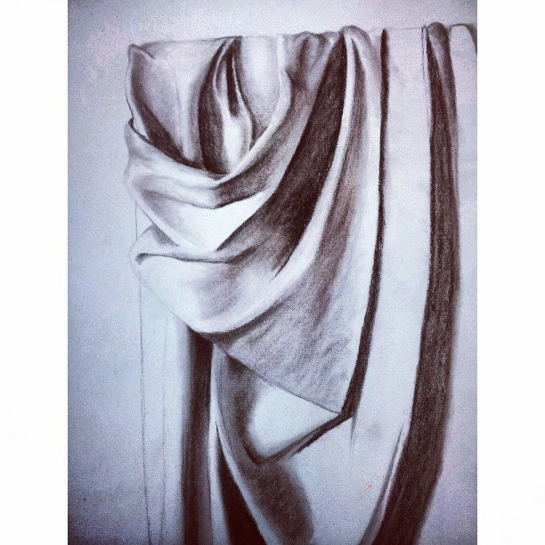 #workinprogress #wip #charcoal #drawing #art #drapery