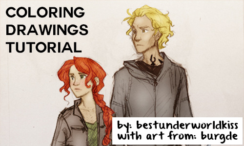 bestunderworldkiss:  This is how I color drawings. The art in this tutorial is made by burgde First find some art you want to color. I recommend liking the post, so it's easier to remember who made it when you are going to credit it later.(Crediting the artist is a very important step!) [[MORE]]  I choose this drawing of Clary and Jace (from the mortal instruments) by burgde: Then make a new file in photoshop like this: Then copy your drawing into photoshop with ctrl + V, and it should look something like this: If you like me, have a drawing that's not back and white add a saturation layer, and set the saturation to - 100, like this: If your drawing is a little dark just add a brightness layer. (I did this a little later, but it's better to do it at this point in the tutorial) Then use the polygonal lasso tool and pick the thing you want to color, like Jace's pants:Then use the brush-tool and fill in the space with your color. Make sure you have made a new layer on top of your original layer, or it won't work. Set the layer to Linear burn, and if it looks to dark, set down the opacity a little. It should look something like this:Then just keep on doing the same thing till everything is done. Make sure to remember to make a new layer for each new color. If something have to sharp edges, just ad a little grassian blur and it will look better :) When you have colored everything it should look something like this:If you want to you can stop here, but if you want more life to your coloring, you should add a new layer, and set it to soft light, like this:In this layer, set your colors to black and withe and highlight the things you want to stand out, and use black to make things darker and to make shadows. Use your brush-tool to do this. It should look a bit like this:And then just do the same with the rest of your drawing till it looks like this:It looks weird, I know, but now we're gonna blend, blend, blend!After blending, you're going to do this amazing thing I learned fromMatt, which is adding a gradient, like this:Then make sure the gradient layer is on top of all the other layers, and set it to soft light. Then you're done! This is how my coloring ended up: When you post itremember to credit the artist! Please like this if this helped you, and if you have any questions leave them in my askbox