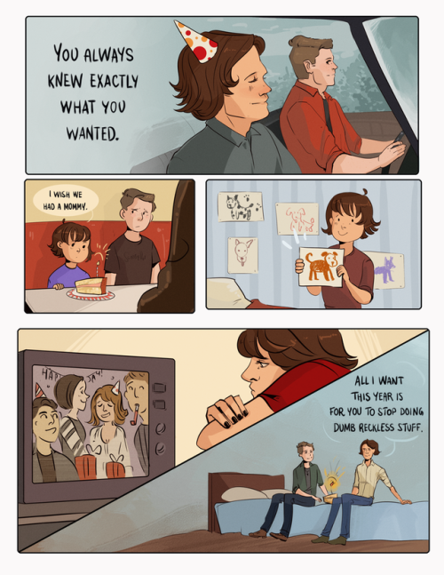 sketchydean:happy birthday to the boy who saved the world! #who gave you the right #im crying #happy birthday sammy #art#sam winchester#brothers feels