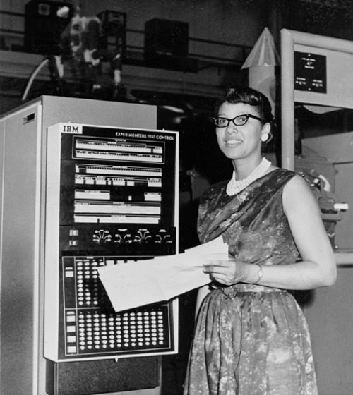 "Melba Roy, NASA Mathmetician, at the Goddard Space Flight Center in Maryland in 1964. Ms. Roy, a 1950 graduate of Howard University, led a group of NASA mathmeticians known as ""computers"" who tracked the Echo satellites. The first time I shared Ms. Roy on VBG, my friend Chanda Prescod-Weinstein, a former postdoc in astrophysics at NASA, helpfully explained what Ms. Roy did in the comment section. I am sharing Chanda's comment again here: ""By the way, since I am a physicist, I might as well explain a little bit about what she did: when we launch satellites into orbit, there are a lot of things to keep track of. We have to ensure that gravitational pull from other bodies, such as other satellites, the moon, etc. don't perturb and destabilize the orbit. These are extremely hard calculations to do even today, even with a machine-computer. So, what she did was extremely intense, difficult work. The goal of the work, in addition to ensuring satellites remained in a stable orbit, was to know where everything was at all times. So they had to be able to calculate with a high level of accuracy. Anyway, that's the story behind orbital element timetables"". Photo: NASA/Corbis."