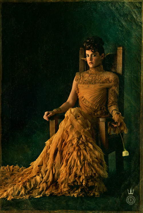 capitolcouture:  Johanna Mason floats on a cascade of nude chiffon with cork fraise and jewels composed of nails—an ensemble reverent to her district.