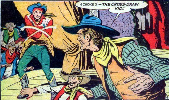 "alternateworldcomics:   The Cross-Draw Kid was a short lived western character published by Ace Comics in 1948 for the 6 issues of Western Adventures. As Westerns were only exceeded in their reliance the sameness of all their stories by the Romance and War genres in the late 40s and early 50s even a little bit of different made them stand out, or in the case of Bud Steele the Cross-Draw Kid, sort of stand out. Cross-Draw, other than his ""cross-draw"" was also noted for fighting sort of western ""super"" villains, such as this evil ventriloquist of the old west. Trivia note… Other than Edger Bergen has there EVER been a ventriloquist in pop-culture that wasn't evil and/or crazy?"