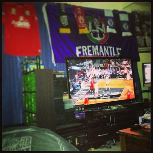 Watching the #Heat game in bed! Life is pretty damn easy. #NBA #ESPN (at Brinky's Bungalow)