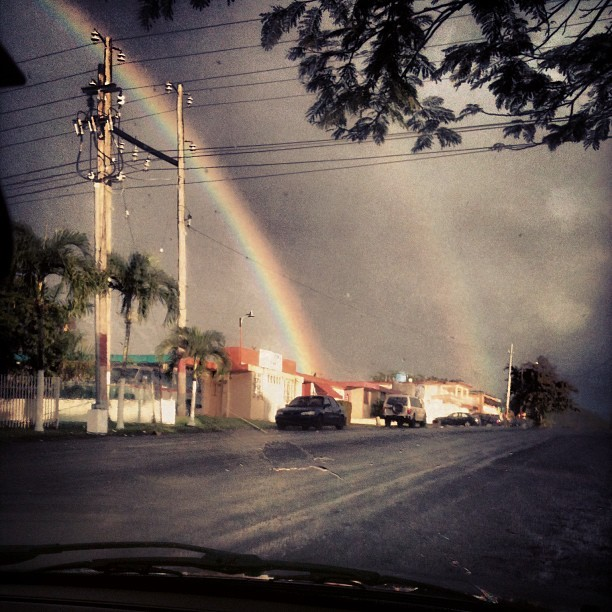 #another #double #rainbow #in #pr #my #town #lovely #colors #daze #trees #road #cars #sky