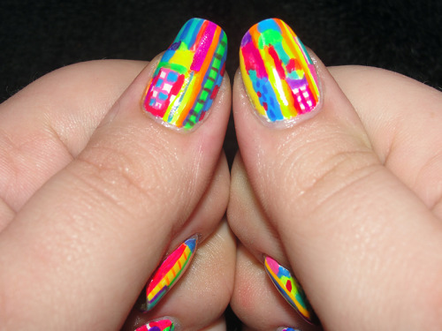 nailgasm:  Retina-searing neon madness!   07– Neon. Day 3 of the challenge. So much color! I love it! (my camera, however, does not approve :P)  Cult Nails– Tempest Nails Inc– Baker St. Urban Outfitters– Binge Sinful Colors– Folly, Fly Away Funky Fingers– Wild Child, Pink Flame China Glaze– Creative Fantasy, Celtic Sun Color Club– Psychedelic Scene, Almost Famous, Feelin' Groovy OCC– Anime, Radiate, Beta