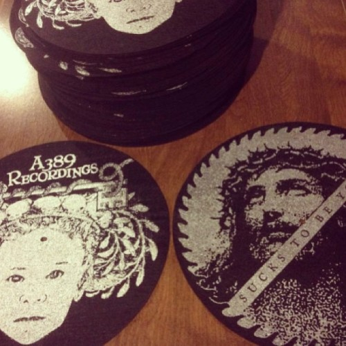 Two sided A389 / Left For Dead slipmats!!!   Available Friday in the new webstore #a389 #leftfordead  #suckstobeyou #pizzapartyprinting