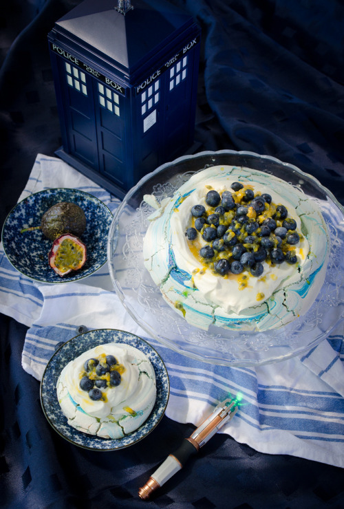 fattributes:  Tardis Blue Blueberry and Passion Fruit Pavlova