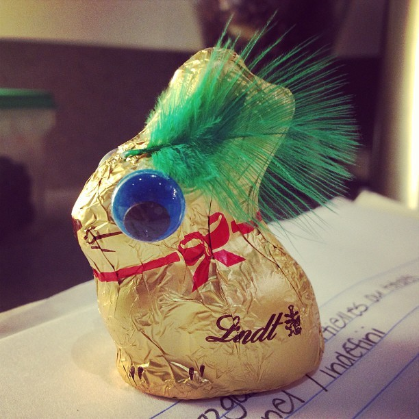 #lindt #mrfancyrabbit #easter #bunny went to town…stuck a feather on his ear and became yankee bunny!