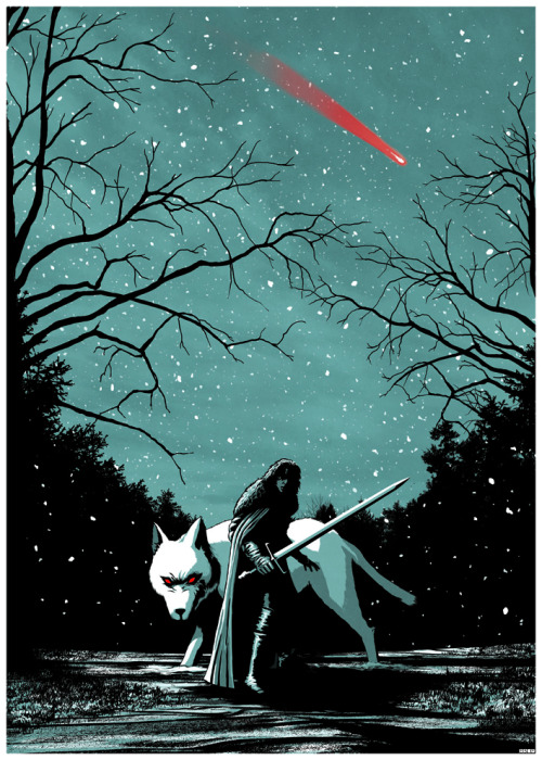 geek-art:  Matt Ferguson -  You kno' nothin' Jon Snow Ice & Fire : The Game of Thrones' Tribute Artworks ! Et si vous veniez passer quelques heures à Westeros ? Ce n'est pas si loin que ça : Dernier Bar Avant la Fin du Monde, 19 avenue Victoria à Paris, Métro Chatelet. A vous les 21 pièces spécialement designées pour rendre hommage à la saga culte de George R.R. Martin… Dépêchez-vous, elles sont pour le moment en vente EXCLUSIVEMENT au Dernier Bar en édition limitée ! What about spending a few hours in Westeros ? It's not that far from here : the Dernier Bar Avant la Fin du Monde, 19 avenue Victoria à Paris, Métro Chatelet. 21 ultra limited prints are waiting for you, designed especially by awesomely talented artists who paid tribute to Geroge R.R. Martin's trilogy. Hurry up, though, the prints are for now available ONLY at the Bar, and are all limited to 20…