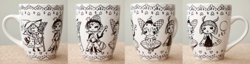 witch, queen, dancer, diva by *jellyfishflan A mug I decorated with my small characters for my sister.  The witch and queen bee are new, but the dancer and diva are from my 30characters30days challenge entries.  Their names are Saffron, Regina, Amelia, and Nimia.