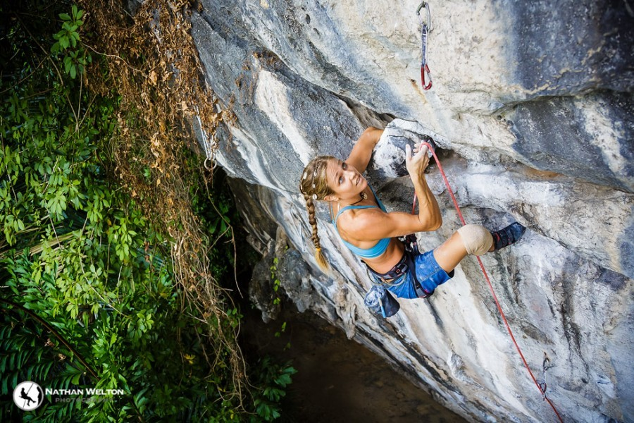 Rannveig Aamodt, on Sport and Art (5.13c). She shattered both ankles, amongst other injuries, in a fall in April 2012. For the whole story, see her blog - but be prepared to wince. A lot.