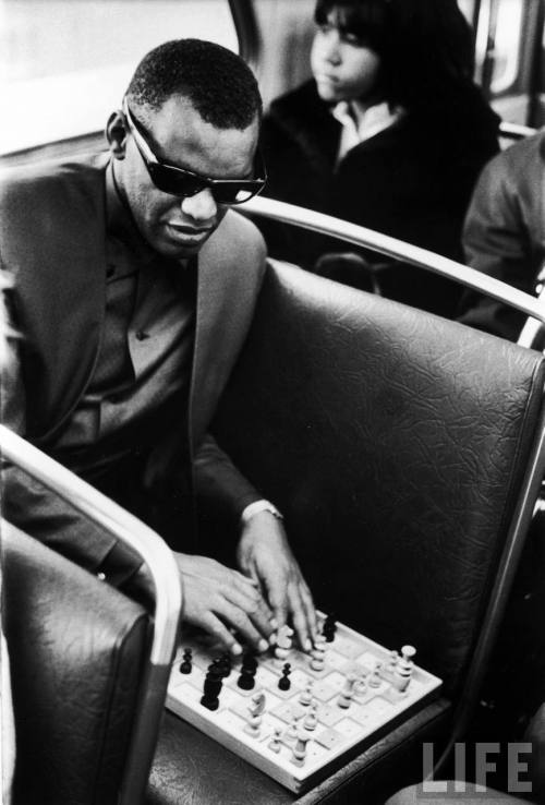 LIFE: Blind singer Ray Charles playing chess o… - Hosted by Google