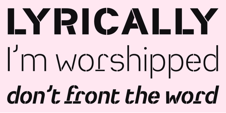 Heimat Stencil—  Heimat Stencil is a legible typeface family designed for contemporary typography, especially for use in headlines and on posters, but also for reading purposes. It combines an idiosyncratic appearance with the feeling of a grid-based letter construction of the late 20s.  What a weird little bro! I love a quirky stencil