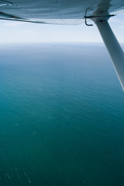Flying over the coast at 2,500 ft, looking out over the Pacific. The water was a stunning shade of blue.