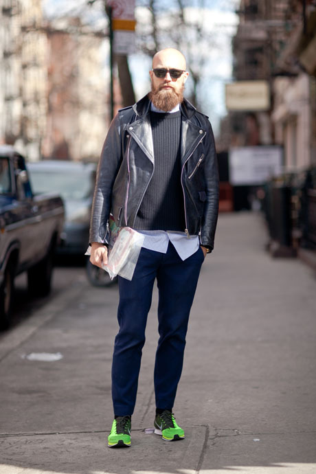 details:  Street Style: Neon Nikes and Acne Leather.  Stylist Simon Rasmussen