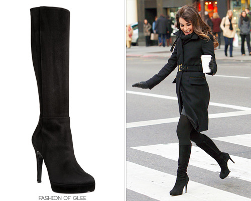 Rachel has worn these trusty black suede boots time and time again since her New York makeover, including in the upcoming episode 'Sadie Hawkins', pictured. Barneys New York Co-Op Platform Knee Boot - $239.00 (on sale!) Worn with: Dana Rebecca Designs earrings, Zara coat, Club Monaco gloves Also worn in: 4x03 'Makeover', 4x04 'The Break-Up', 4x08 'Thanksgiving', 4x10 'Glee, Actually', 4x12 'Naked', 4x13 'Diva', 4x16 'Feud', 4x17 'Guilty Pleasures'