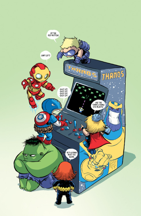 geekmythology:  Young Avengers Playing Thanos Arcade Game - Skottie Young Art - News - GeekTyrant