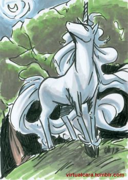 Unicorn! The Last Unicorn was a huge influence on me as a kid and one of my earliest memories. For a long time I drew unicorns far better than people, but eventually I grew out of that when I got into comics full force.  5x7 brushpen & marker. This piece is up for sale this week, under ebay ID manga-girl.