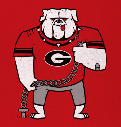 Georgia bulldog acting tough and breaking chains. Vote and leave a comment over here. Thanks!