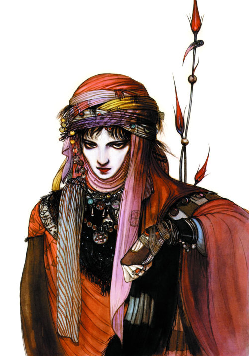 natural-killer-cyborg:  legendofthearcher4721sir:  Final Fantasy VI Locke in Merchant's Clothing - Yoshitaka Amano  Holy shit, is this actually what this is? What a nice piece of art for a hilariously silly and unimportant part of the game, LOL