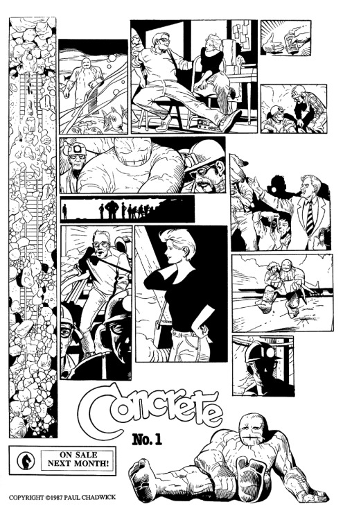 Promotional ad for Concrete #1 by Paul Chadwick, 1987.