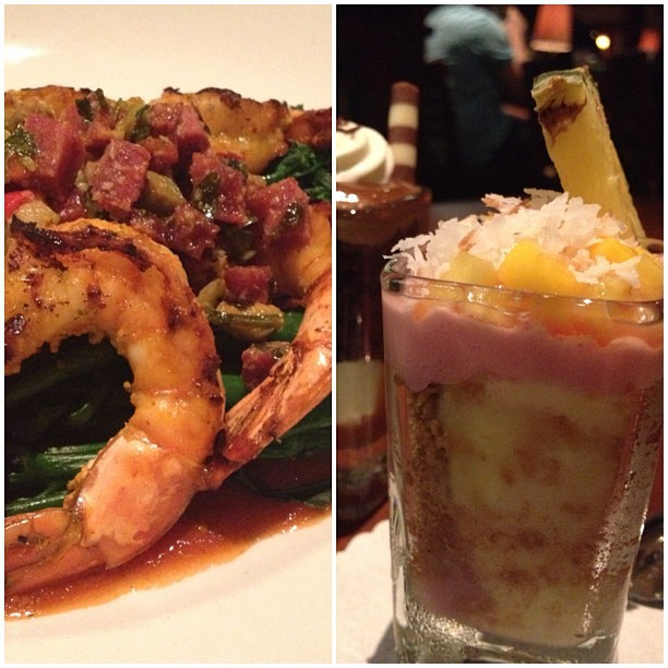 Seasons52 || Westfield UTC. Cajun Shrimp with Crispy Pancetta and a Mango Tropical Cheesecake. #mywklynew #instagood #instafood #exploring #adventures  (at Seasons 52 Fresh | Grill)