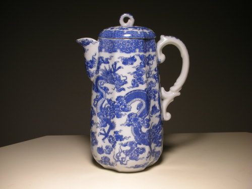 "Japanese Blue White Transfer Porcelain Chocolate Pot. Circa: 20th century. Approx. Height: 9-1/2"" inches"