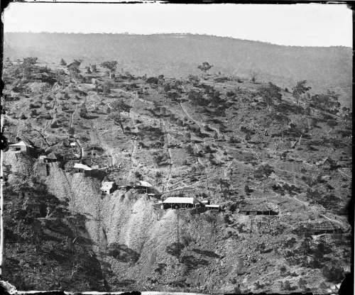 Photograph of Hawkins Hill during the goldrush, Australia, 1872 (via Art Blart)
