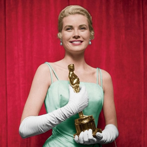 "Grace Kelly with her 1955 Academy Award for ""The Country Girl."" #VFOscars"