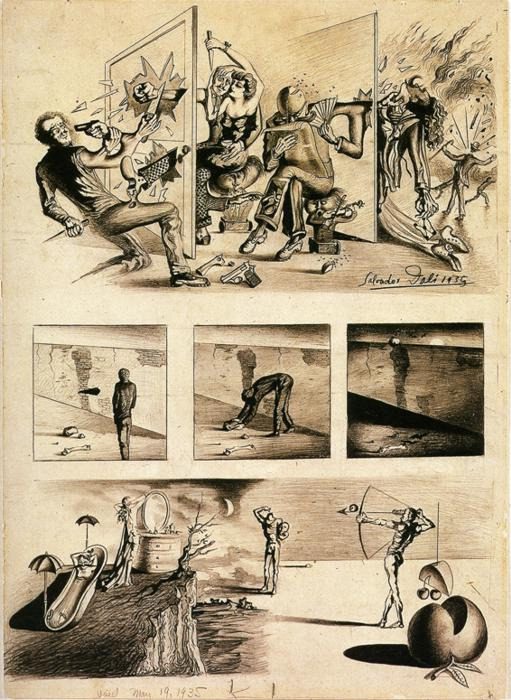 Sunday Dalí: Gangsterism and Goofy Vision of New York, 1935. Ink on paper, 54.6 x 40 cm.