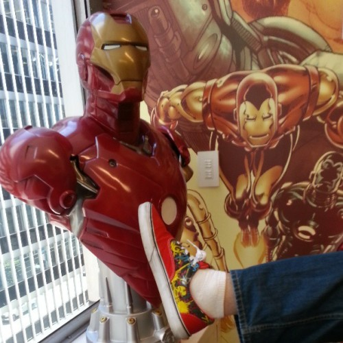 Wearing my Iron Man Van's in our Iron Man conference room with an Iron Man bust on #IronMan3 day. #Marvel #IronMan #comics