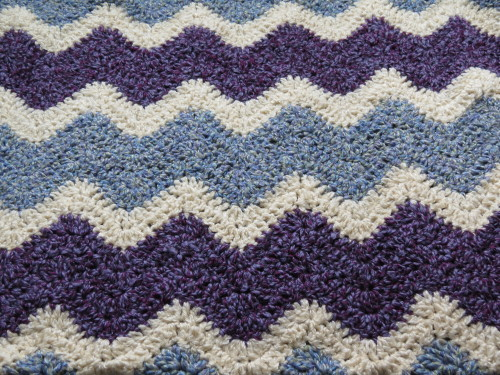 Just finished a crochet ripple throw blanket for a friend. :)  (Pattern: Striped Zig-Zag Blanket [Every Home]; Artist: Loops & Threads)