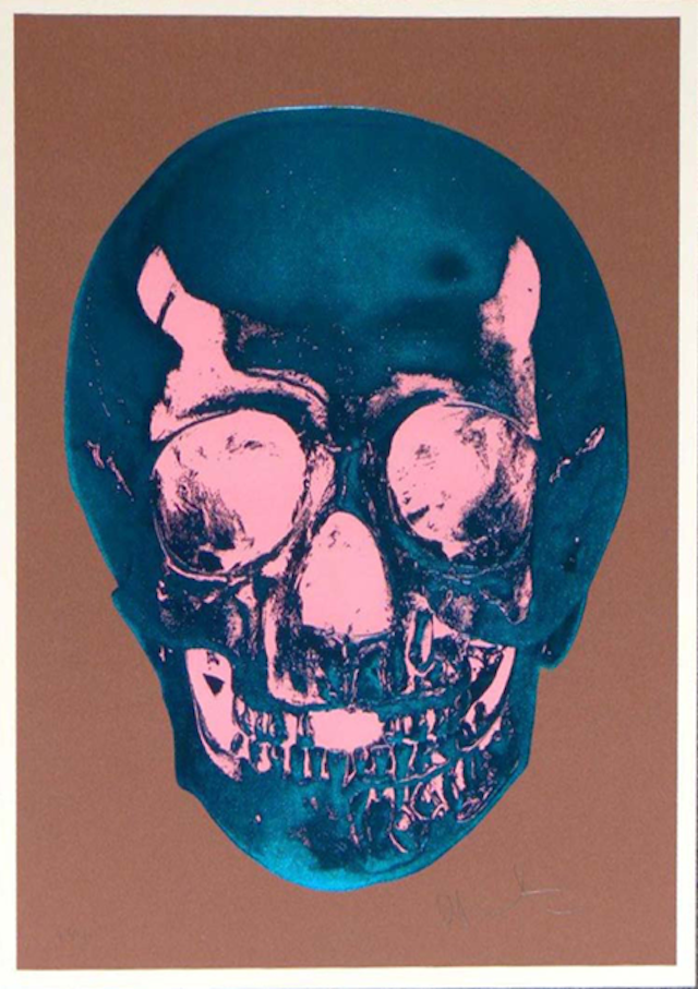 Hirst's Skull Damien Hirst's work has generated enormous controversy for its morbidity and fascination with medicine, which is evident in several of his series: the encased dead animals in various states of preservation, cabinets filled with pharmaceuticals, and various skulls.  Pictured is one of his skulls, Till Death Do Us Part - Milk - Chocolate Brown True Blue Bubblegum Pink Skull (2012).