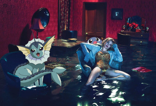 pokexfashion:  w magazine december 2012; natalia vodianova, vaporeon & poliwag  Pokémon + high fashion